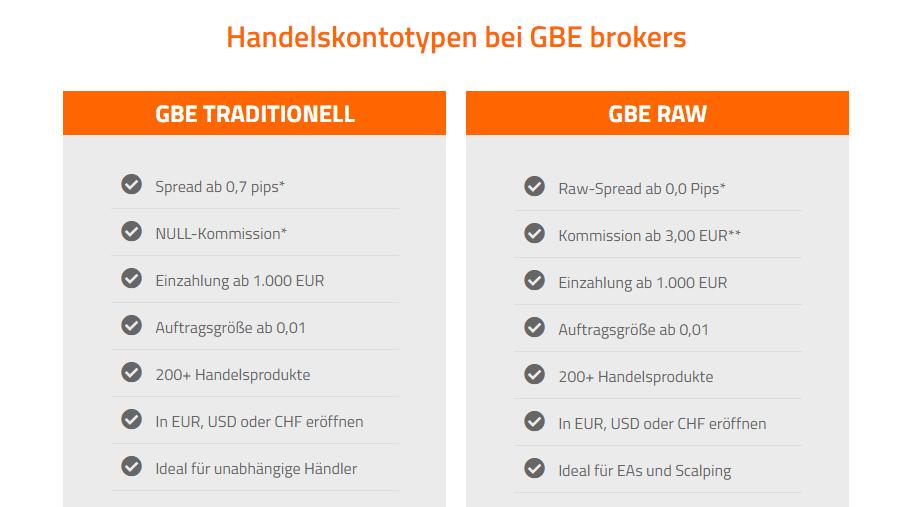 GBE Brokers Kontomodelle