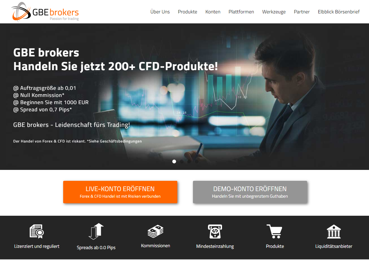 Forex Broker GBE Brokers Webseite