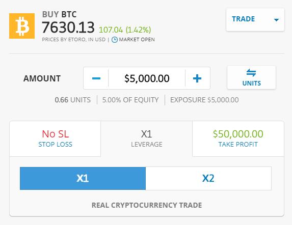 Ordermaske für das Kryptowährungen kaufen