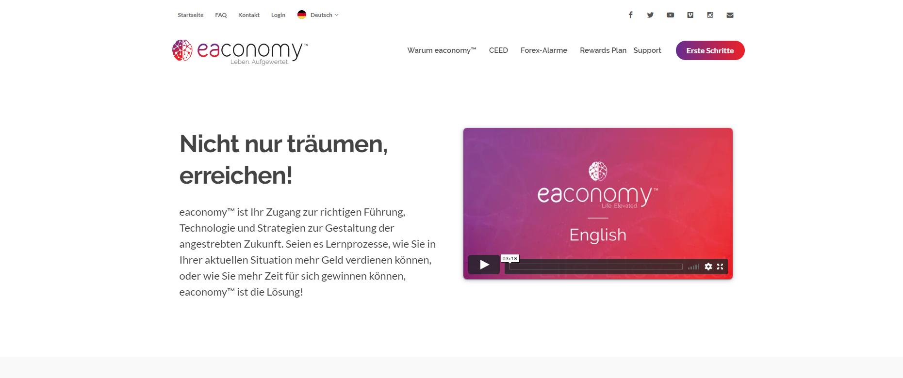 eaconomy Webseite (Screenshot)