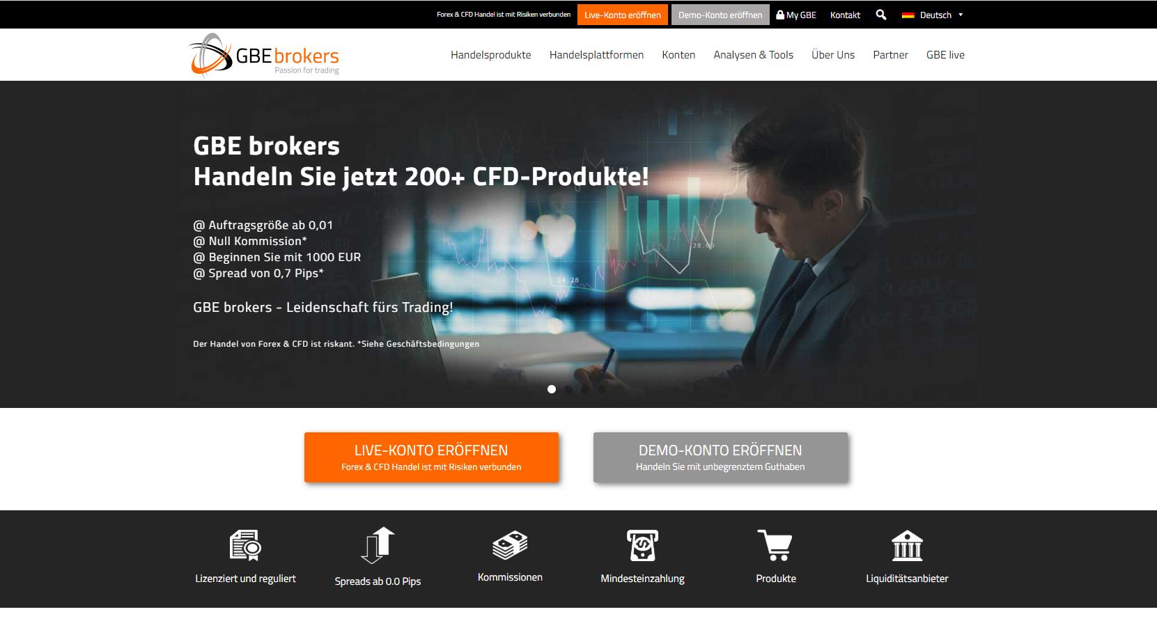 Daytrading Broker Webseite von GBE