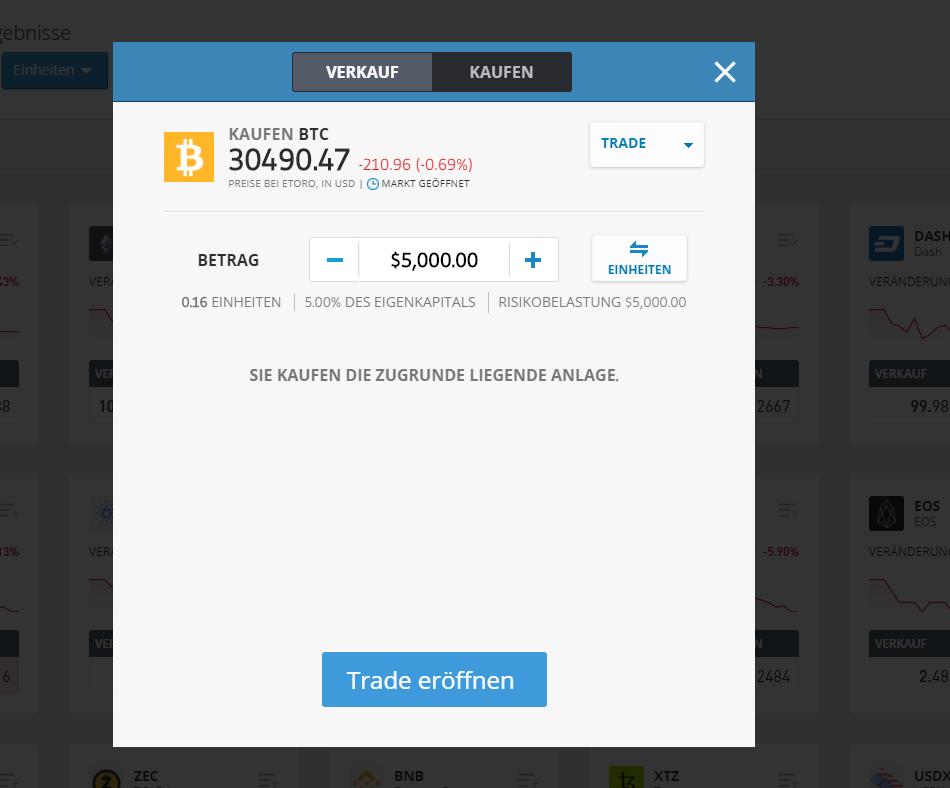 Bitcoin Trade eröffnen ohne Wallet
