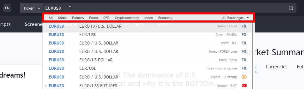 Finden Sie die Märkte bei Tradingview.com