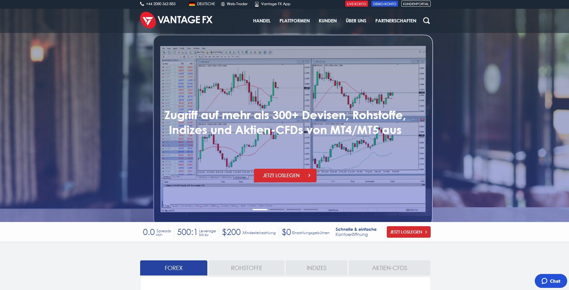 Offizielle Webseite von Vantage FX