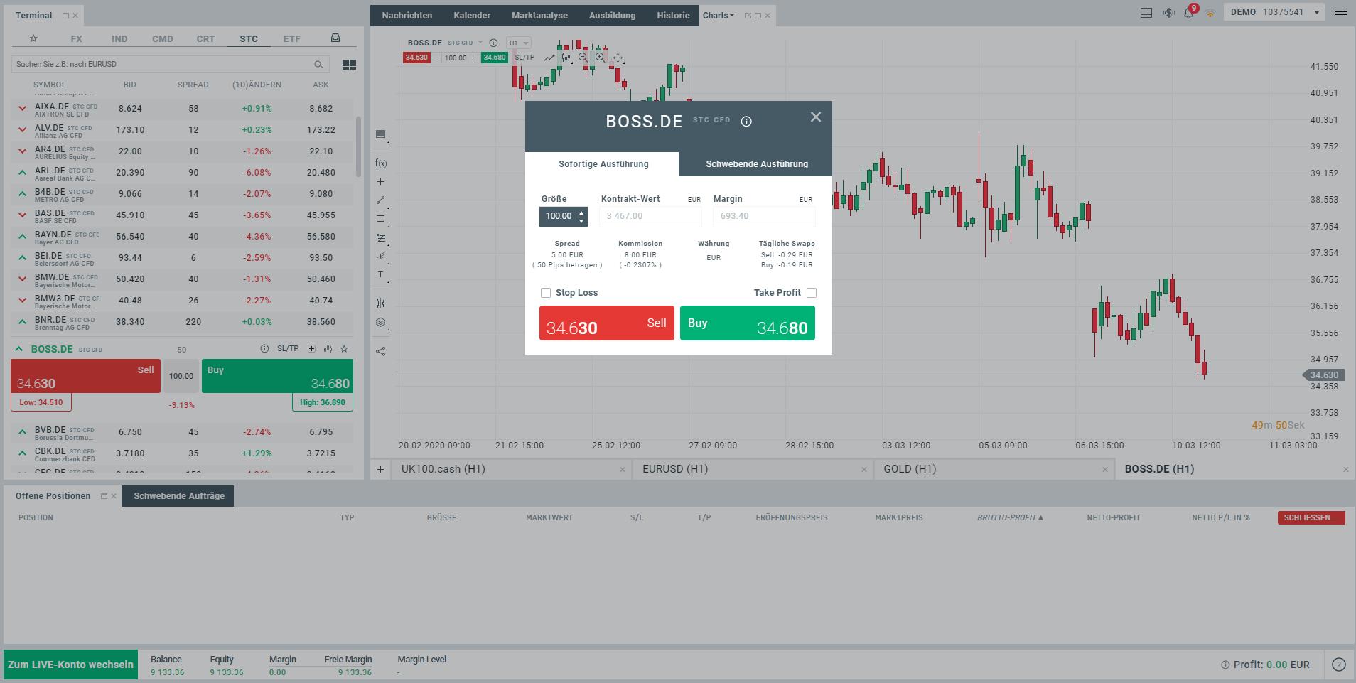 Aktien Handelssoftware Beispiel von XTB
