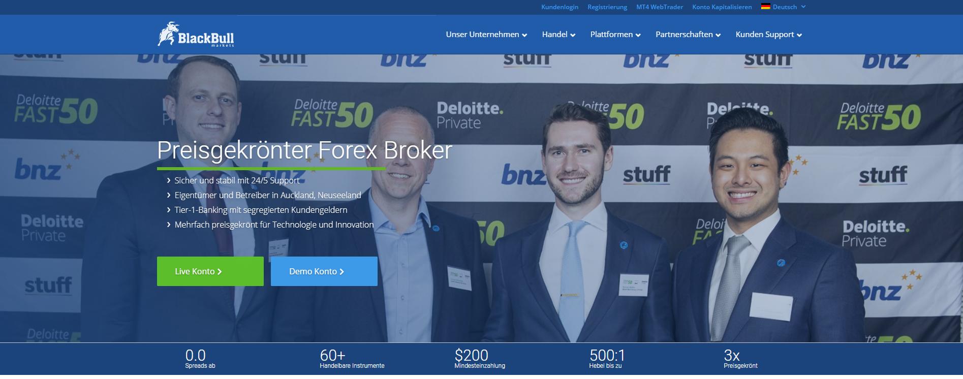 Blackbull Markets Webseite