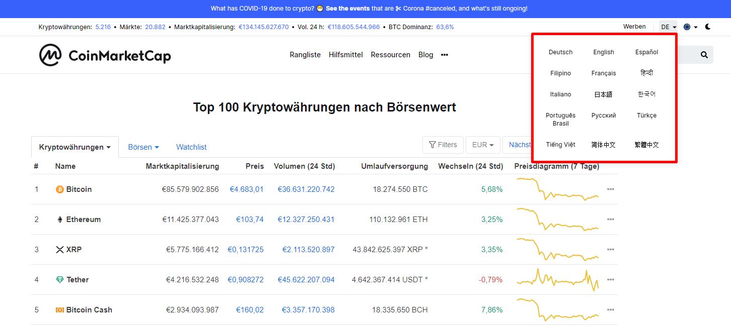 Coinmarketcap Sprache auf Deutsch umstellen