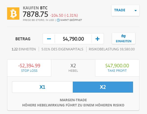 Eine Order im Bitcoin CFD eröffnen