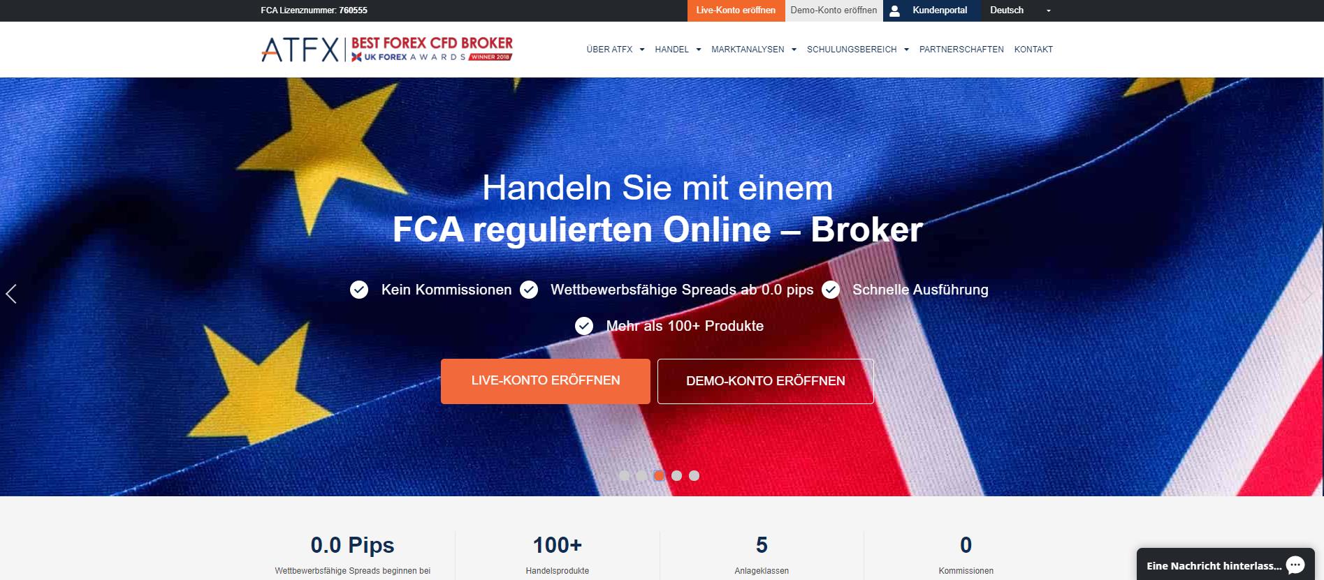 Forex Broker ATFX Webseiten Screenshot