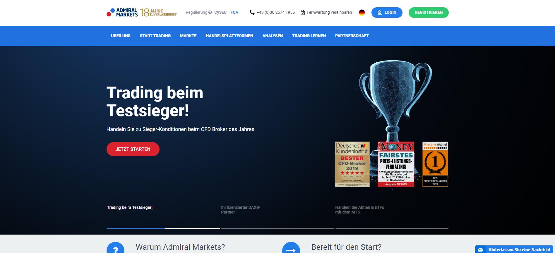 Forex Broker Admiral Markets Webseiten Screenshot