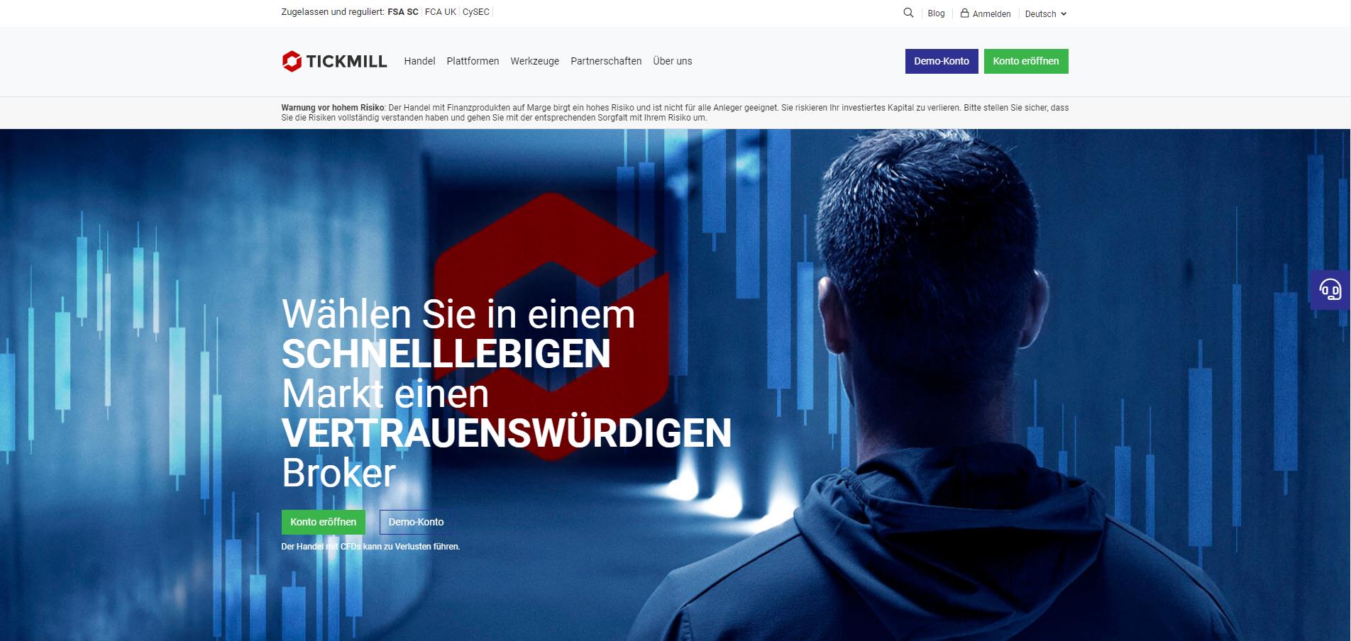 Forex Broker Tickmill Webseiten Screenshot