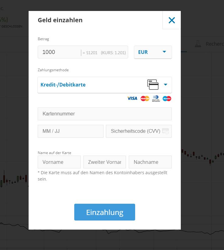 Geld einzahlen beim Online Broker