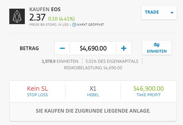 Handel mit der Kryptowährung EOS