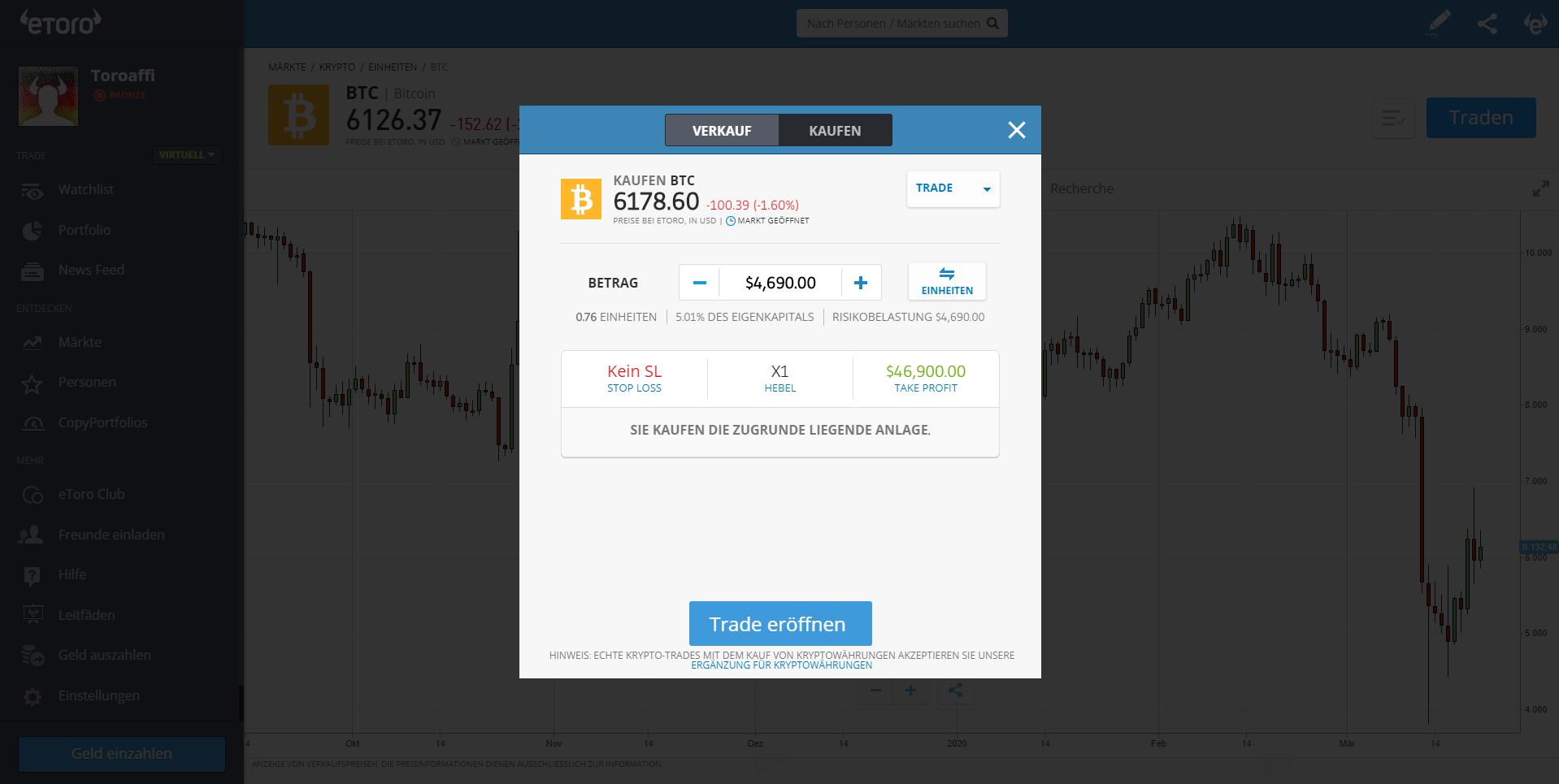 Kaufen und Verkaufen von Kryptowährungen