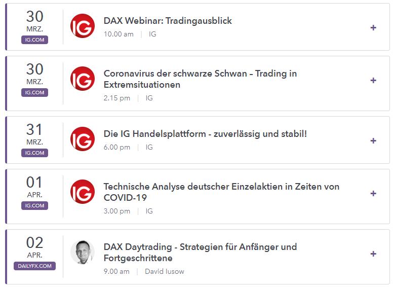 Live-Webinare von IG Markets