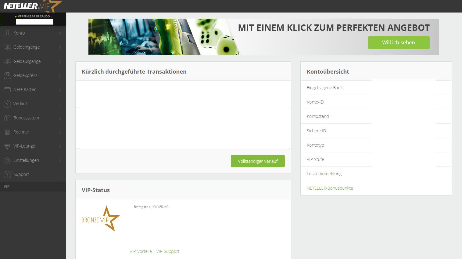 Neteller Plattform Screenshot