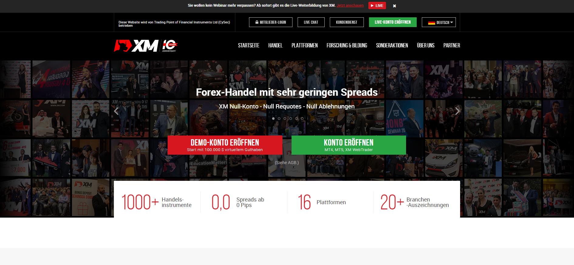Offizielle XM.com Webseite
