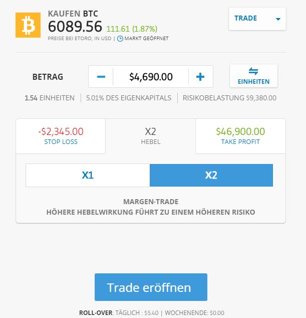 Ordermaske für das Kryptowährungen Trading