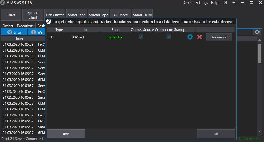 Verbundener Datenfeed der Order Flow Trading Software