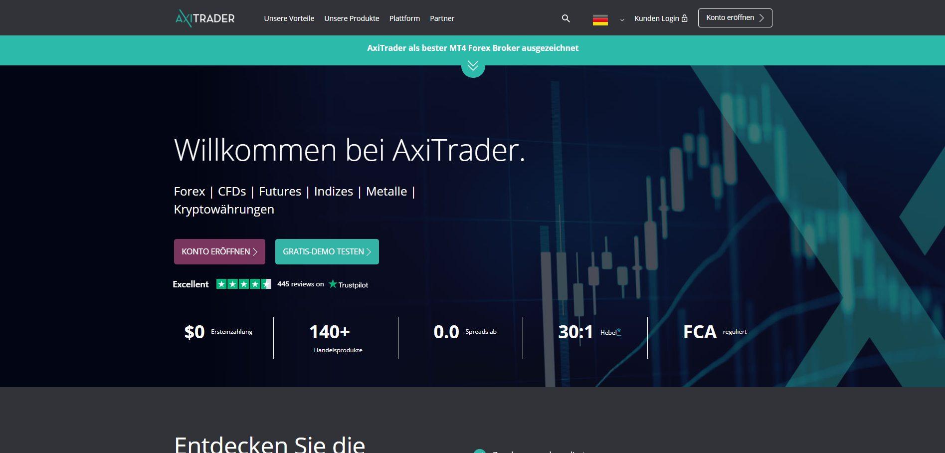 AxiTrader Forex Broker Webseite Screenshot