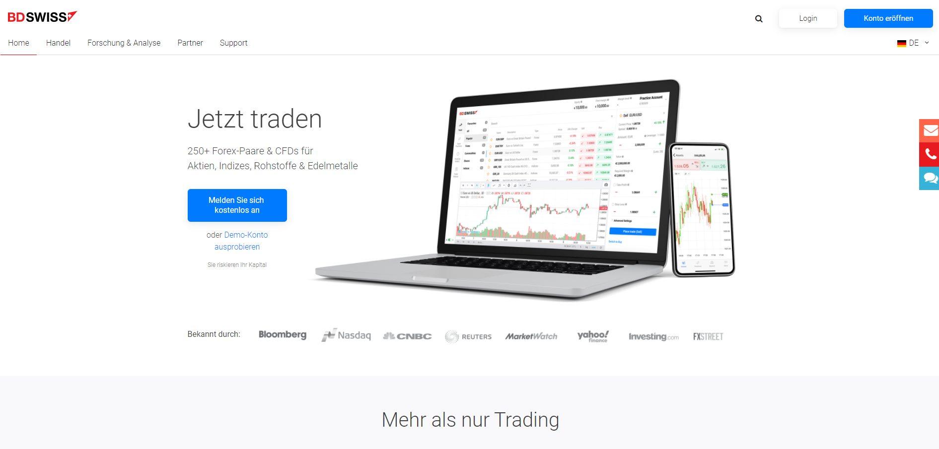 BDSwiss Forex Broker Homepage Screenshot