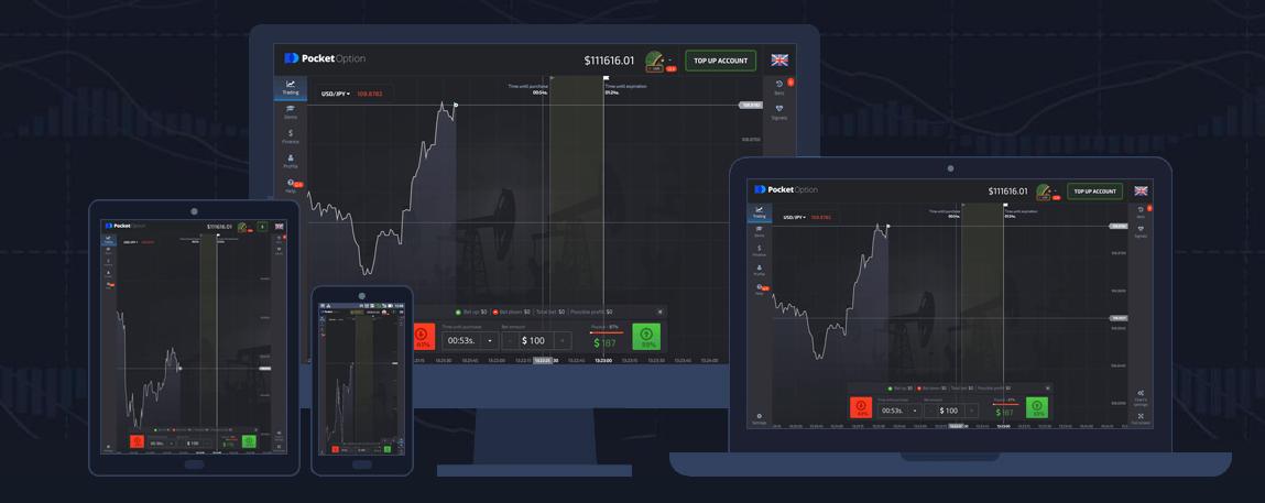 Die Pocket Option Handelsplattform ist für jedes Gerät verfügbar