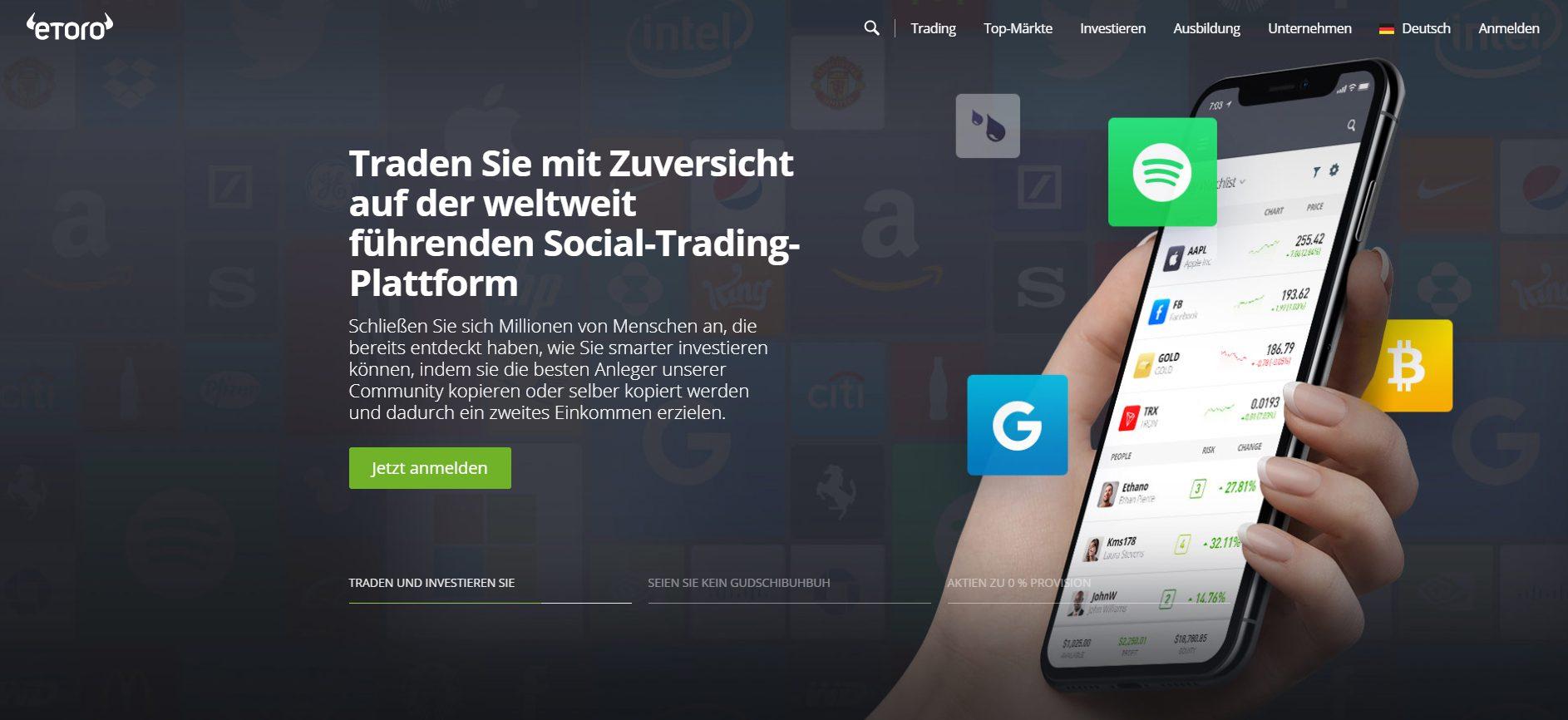 Etoro Forex Broker Webseite Screenshot