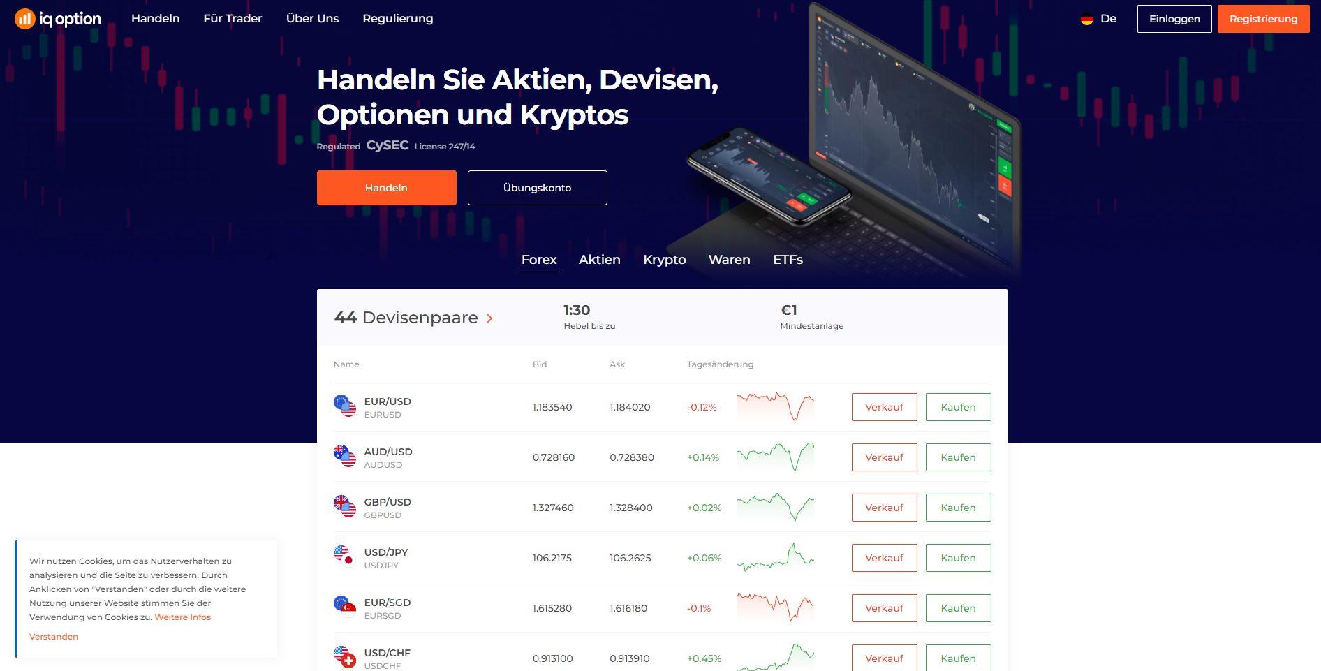 IQ Option Forex Broker Webseite Screenshot