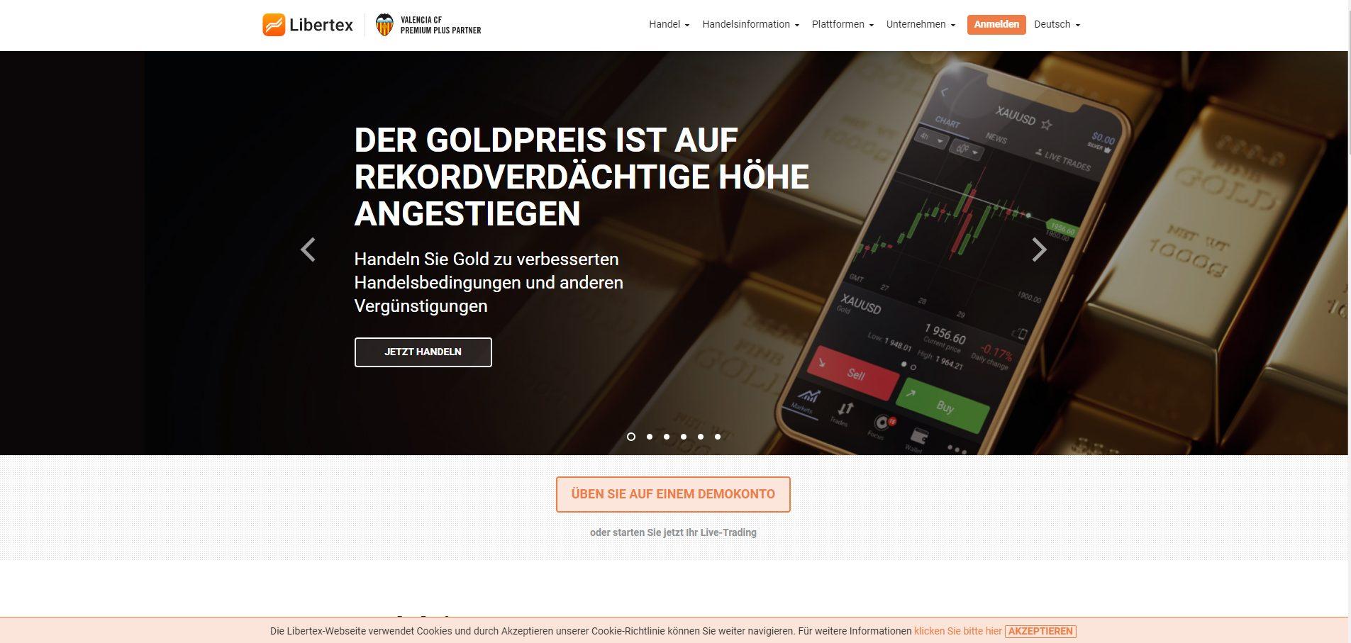 Libertex Forex Broker Webseite Screenshot