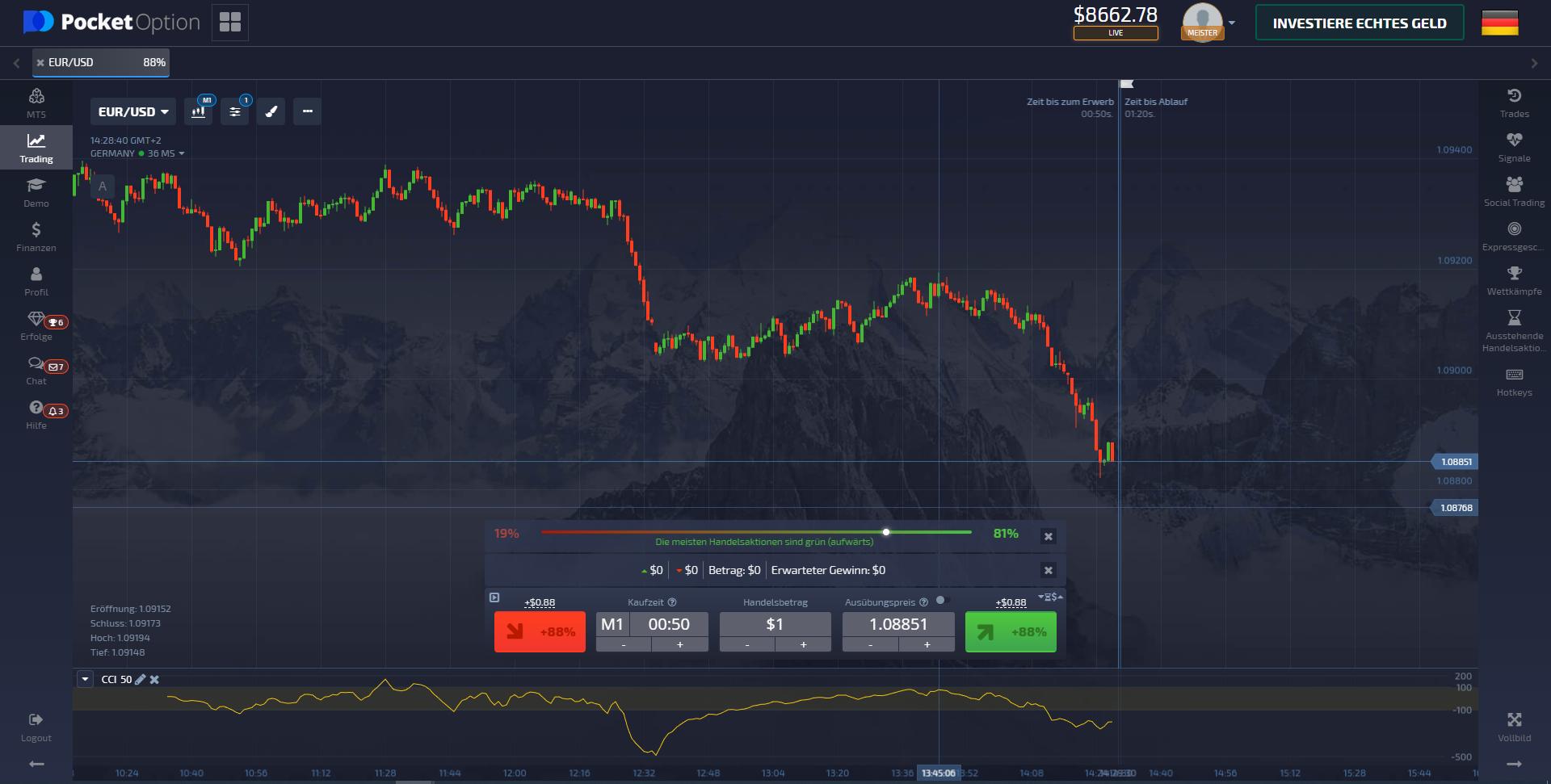 Screenshot der Pocket Option Handelsplattform