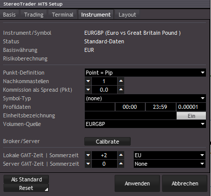 StereoTrader Terminal Setup