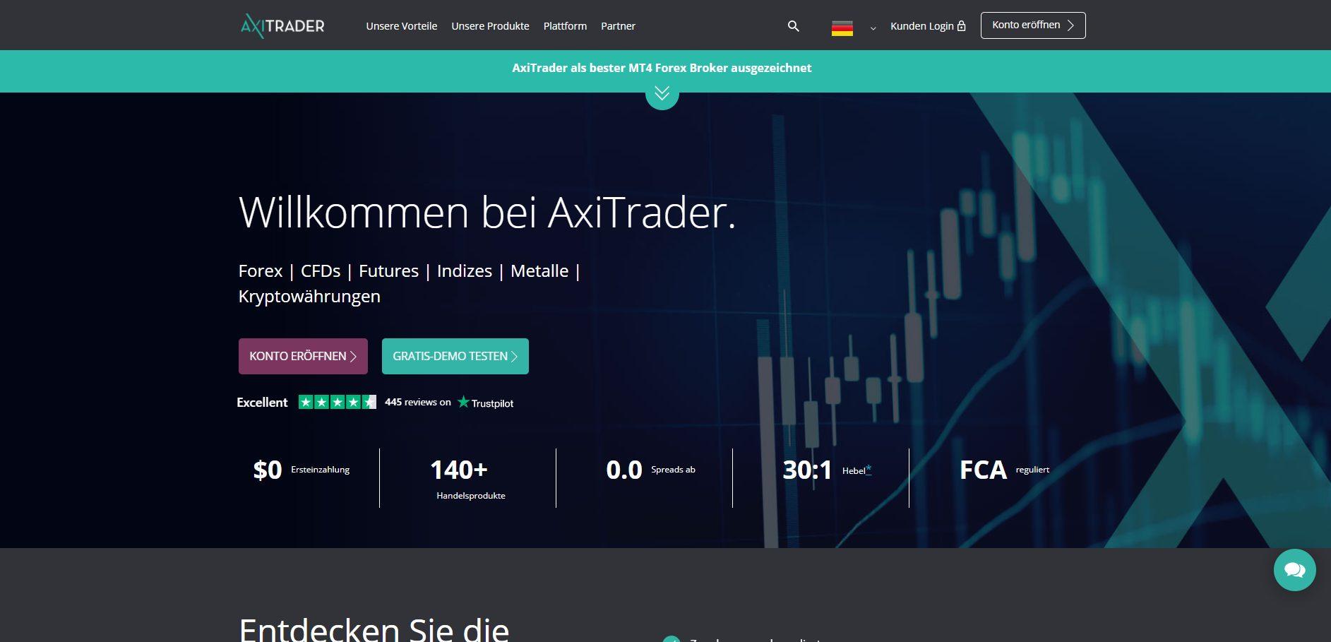 AxiTrader CFD Broker Webseite