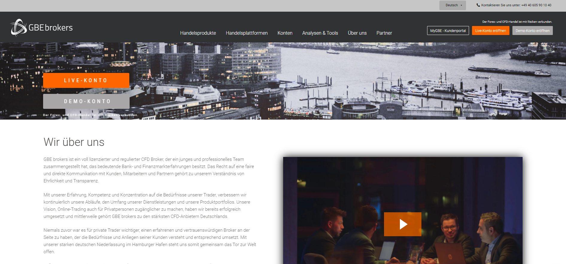 GBE Brokers CFD Broker Webseite
