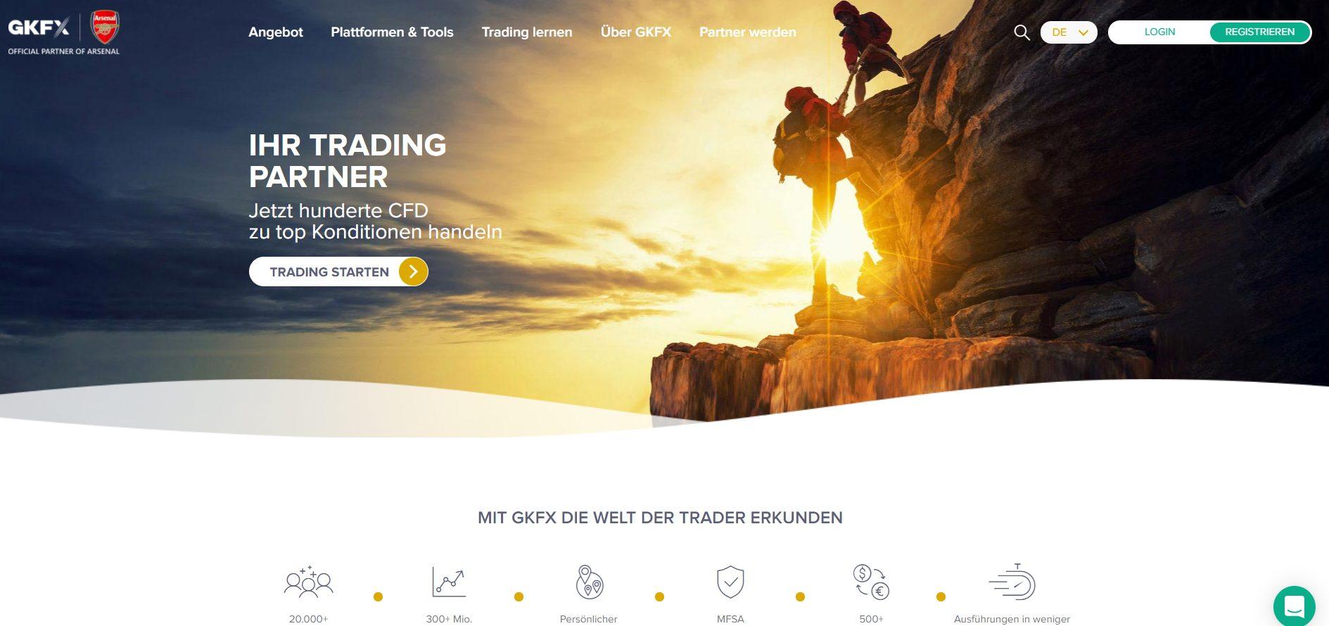 GKFX CFD Broker Webseite