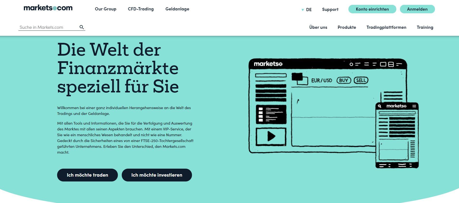 Marketsx CFD Broker Webseite