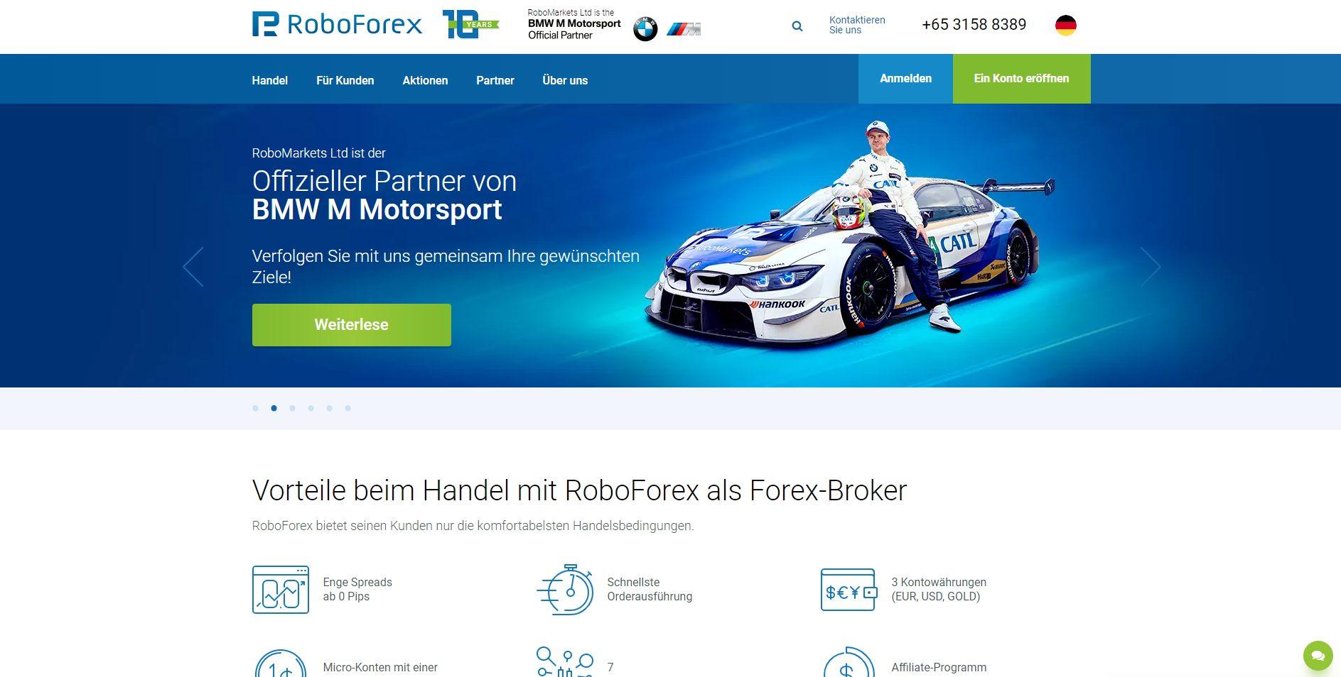 Offizielle Webseite von RoboForex