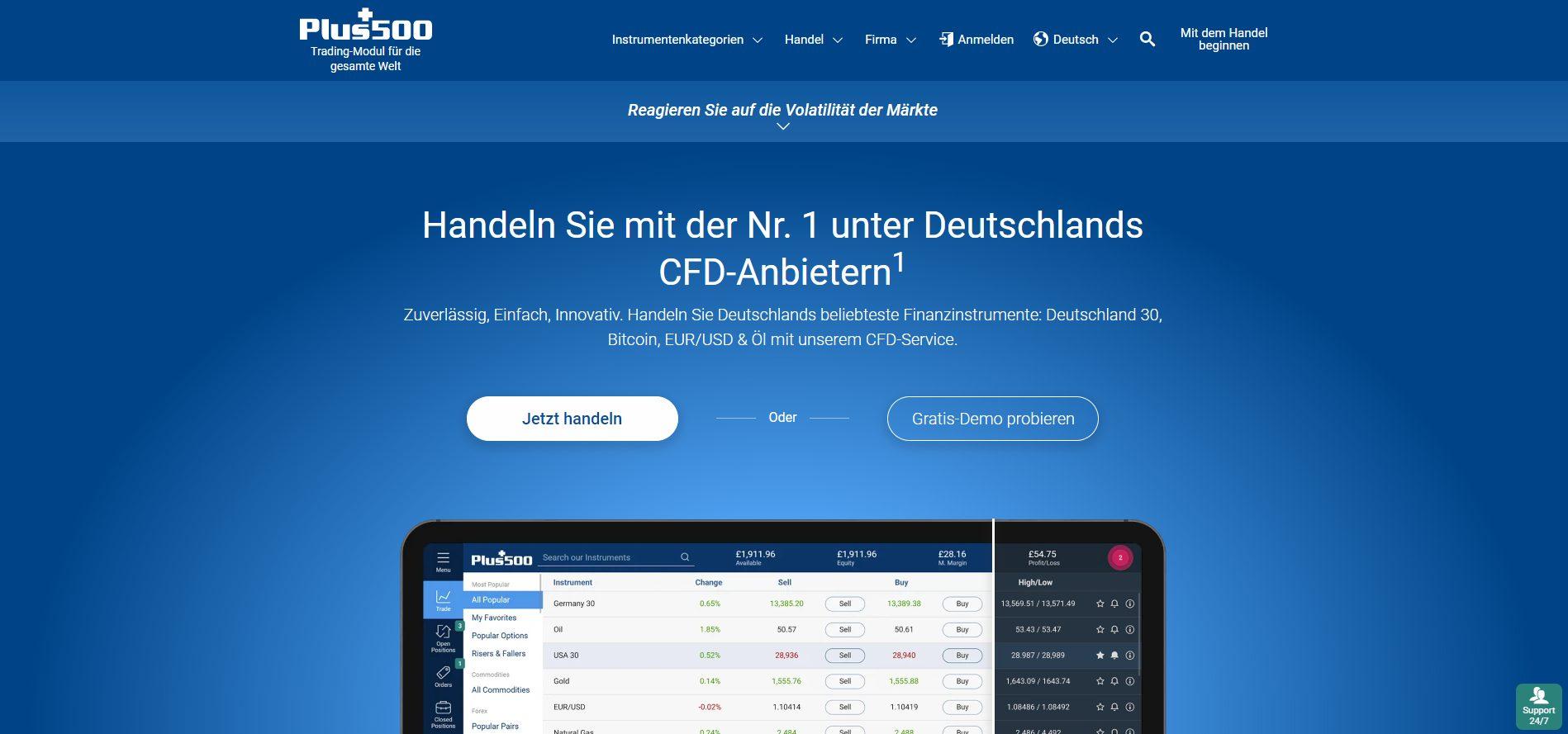 Plus500 CFD Broker Webseite