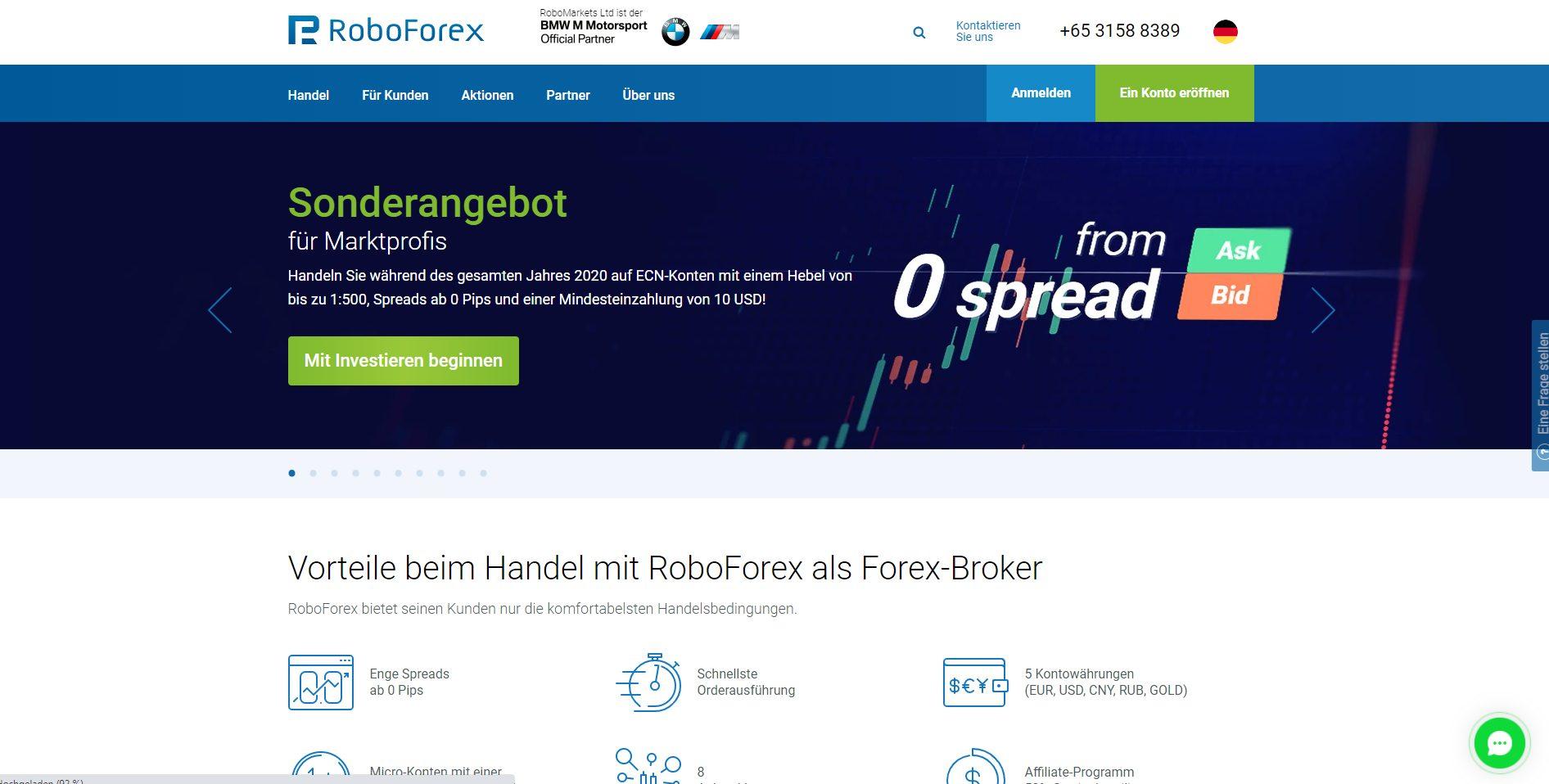 RoboForex CFD Broker Webseite