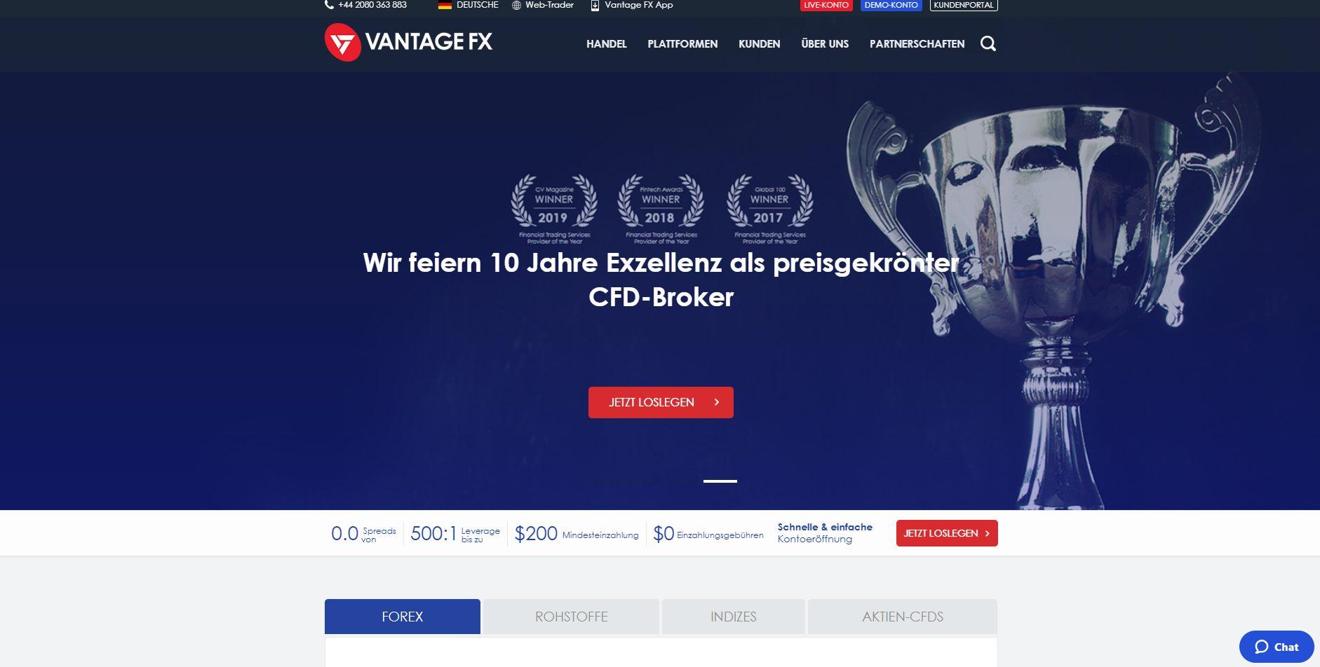 Vantage FX CFD Broker Webseite