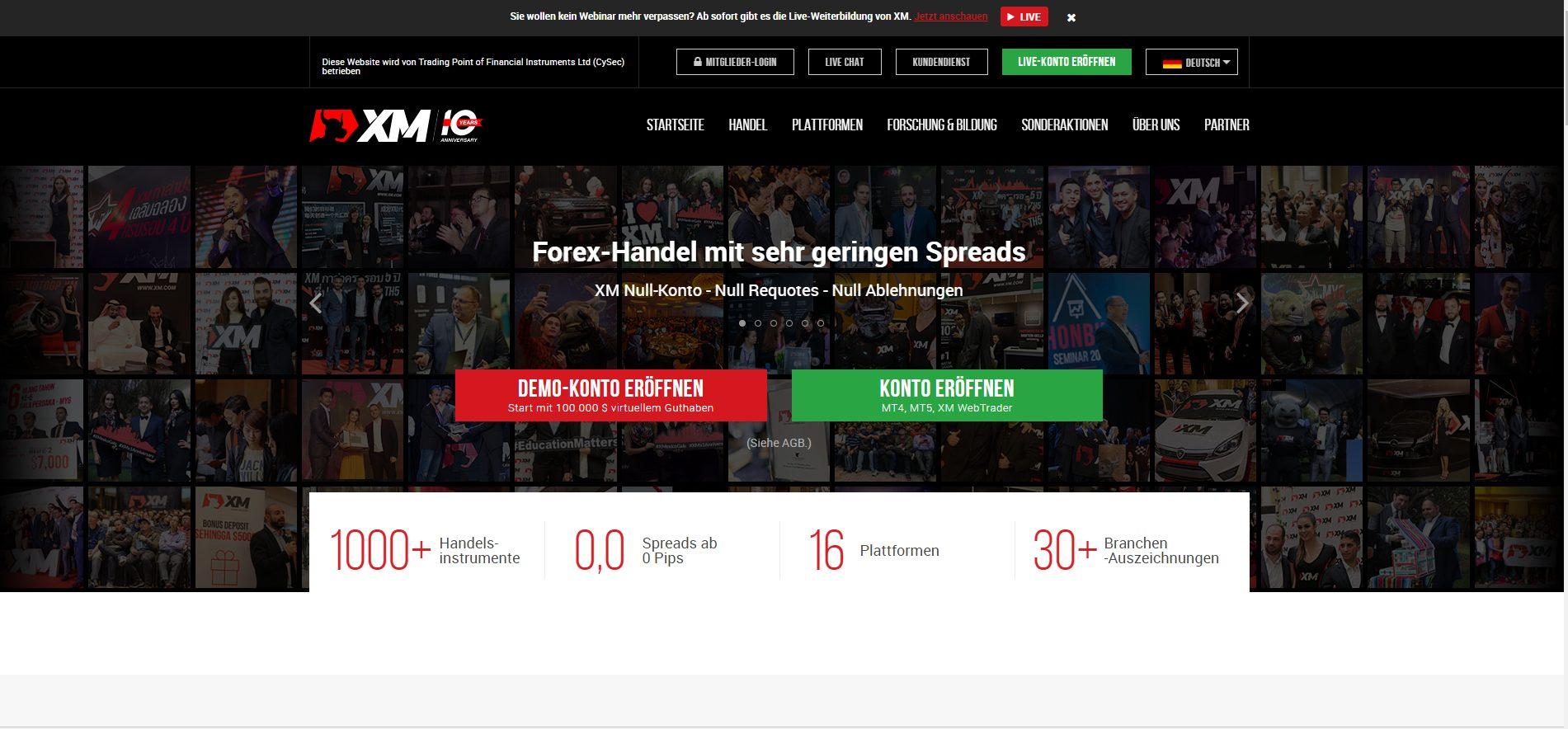XM CFD Broker Webseite
