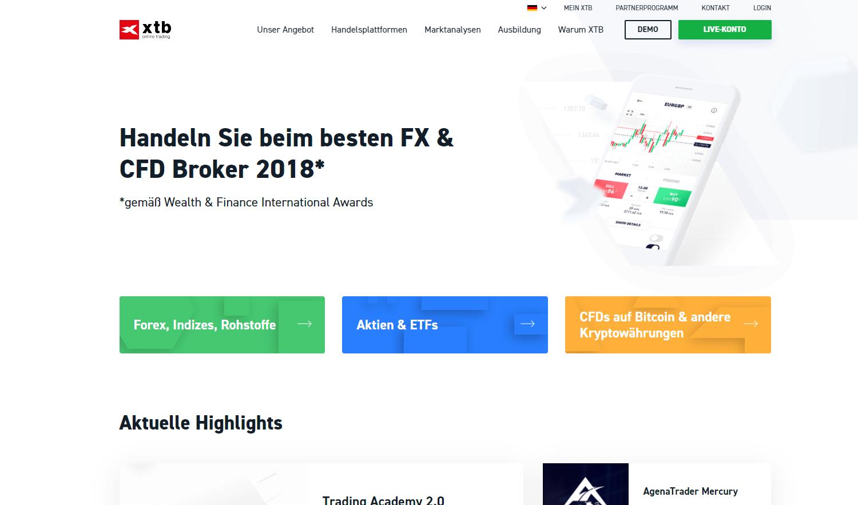 XTB CFD Broker Webseite