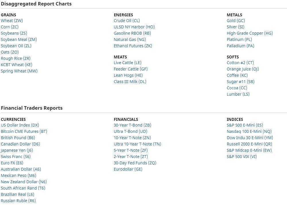 Assets für den COT Report
