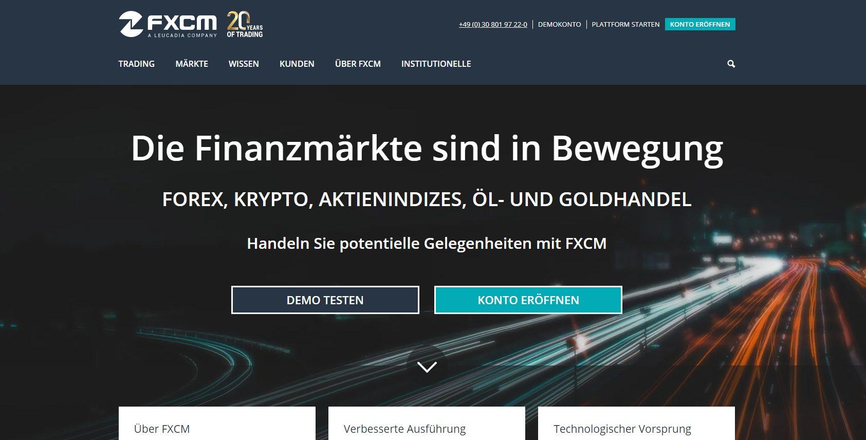 FXCM Webseite (Screenshot)