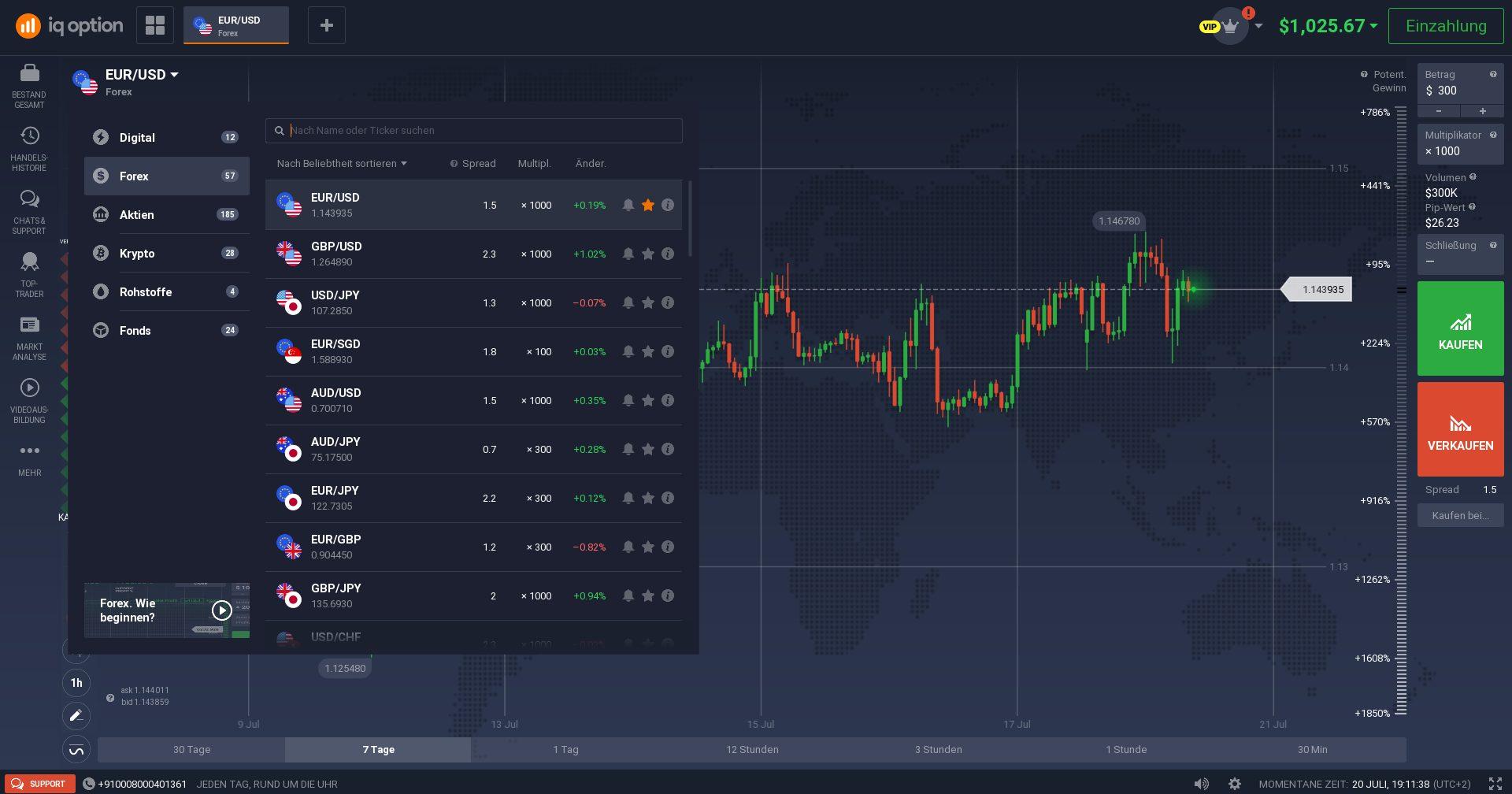 IQ Option Plattform Screenshot