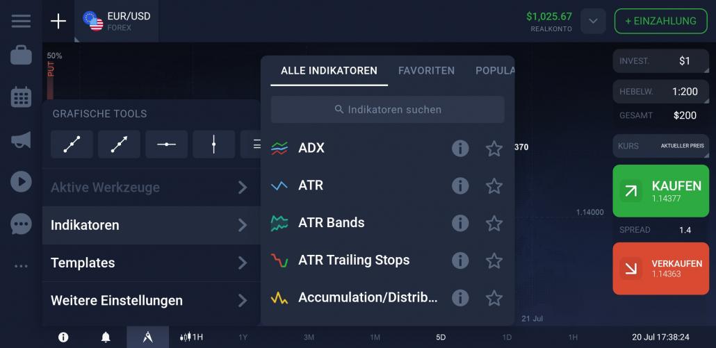 Indikatoren in der Forex Trading App