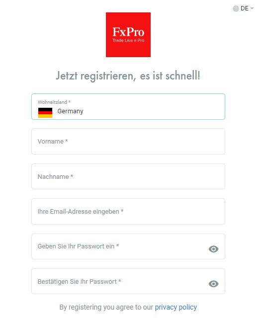 Registrierung bei FxPro