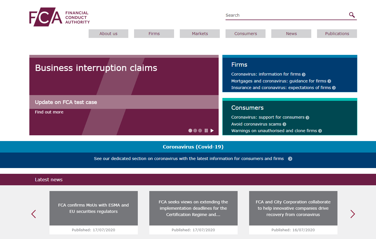 Screenshot der FCA Webseite