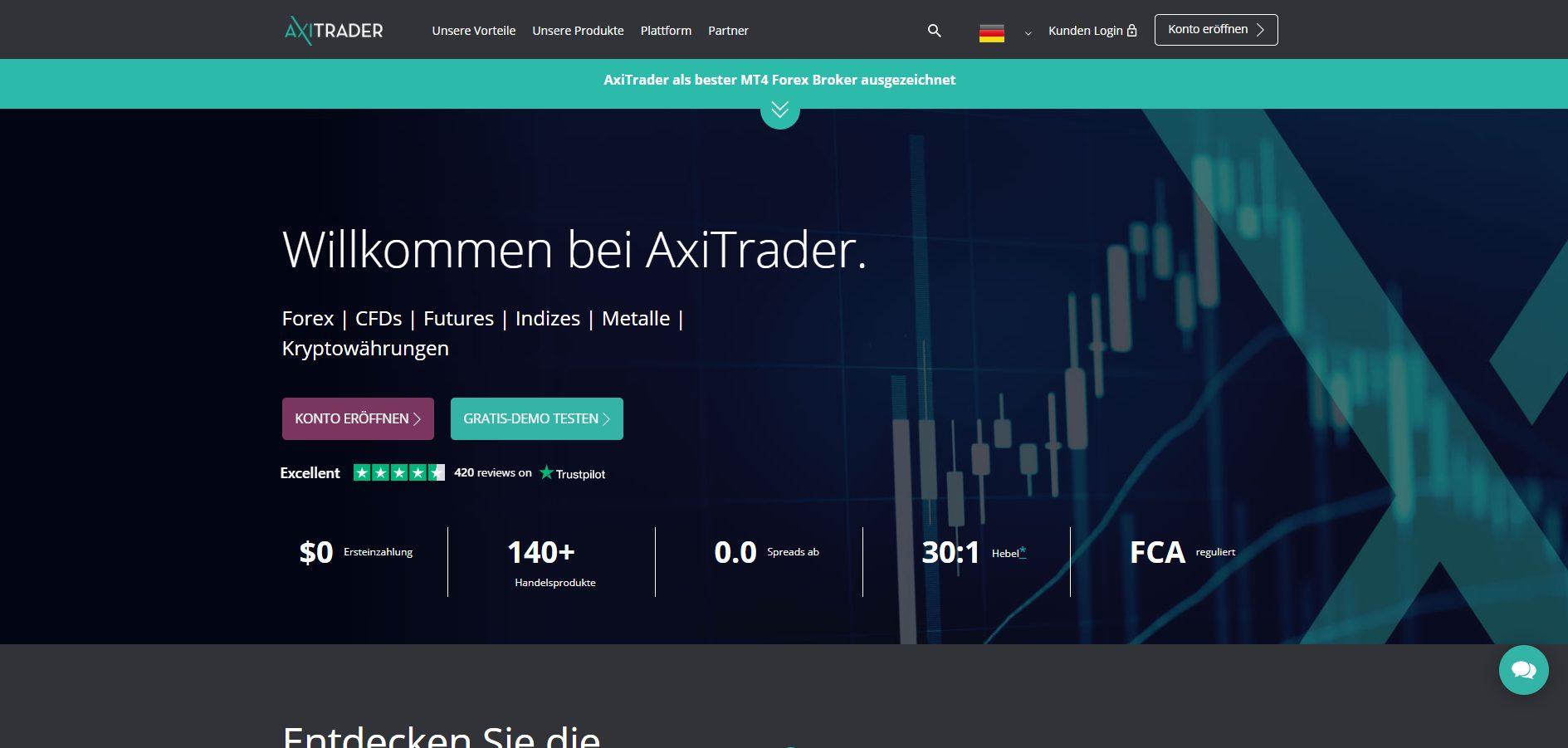 Screenthost der AxiTrader Webseite