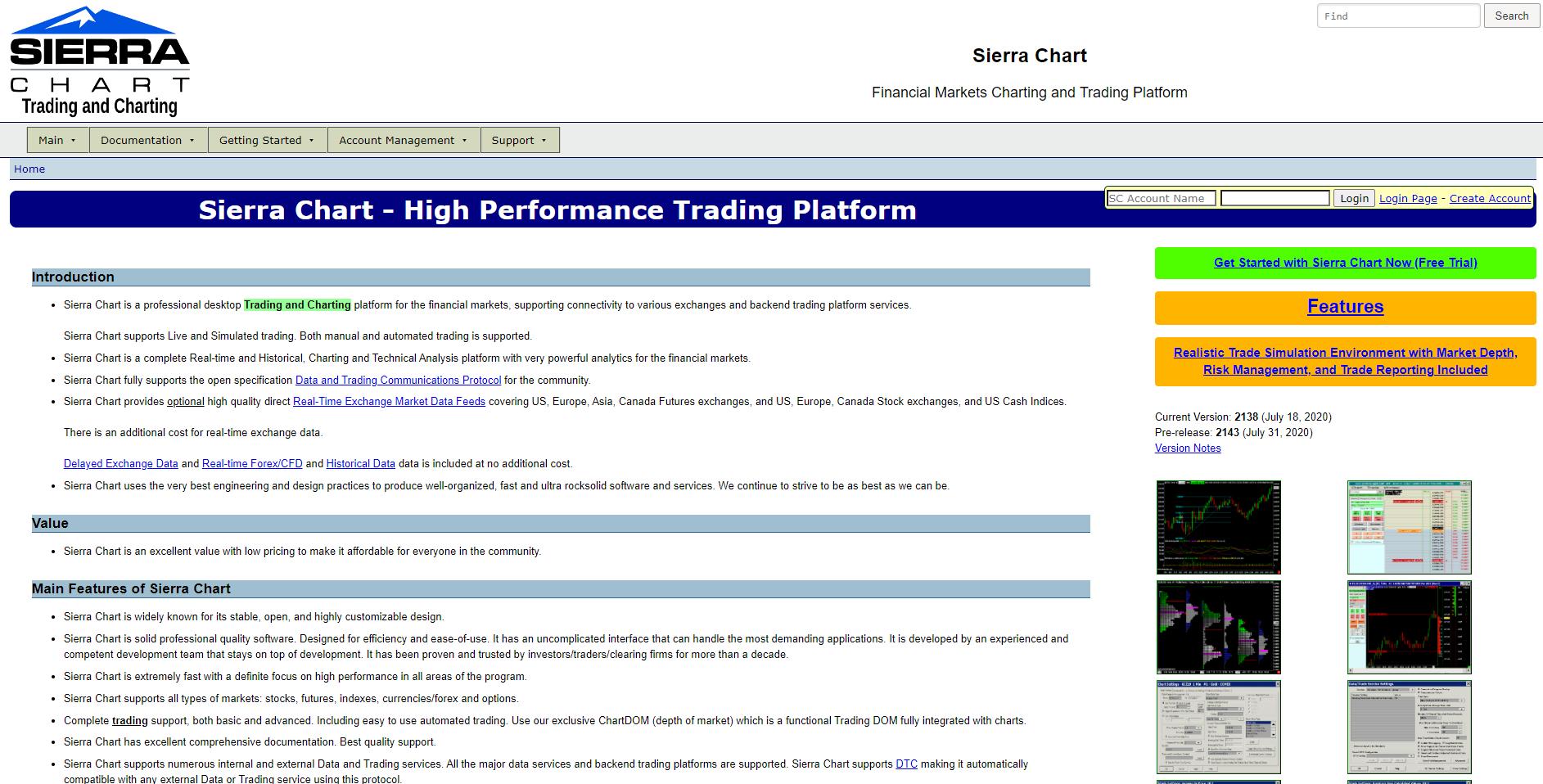 Sierra Chart Webseite