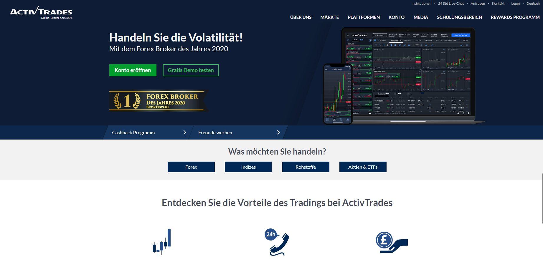 Webseite von ActivTrades